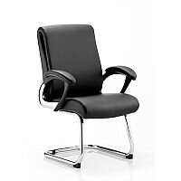 Romeo Boardroom & Visitor Cantilever Chair Black Leather With Arms