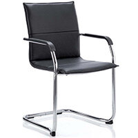 Echo Boardroom & Visitor Cantilever Chair Black Bonded Leather With Arms