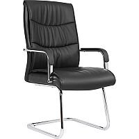 Carter Black Luxury Faux Leather Cantilever Boardroom & Visitor Chair With Arms