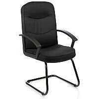Harley Boardroom & Visitor Cantilever Chair Black Fabric With Arms