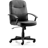 Harley Executive Office Chair Black Leather With Arms