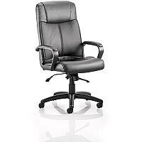 Plaza Executive Office Chair Black Bonded Leather With Arms