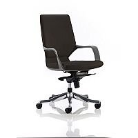 Xenon Executive Black Frame Office Chair Black Leather Medium Back With Arms