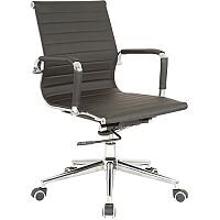 Cross Medium Back Black Faux Leather Executive Office Chair With Arms