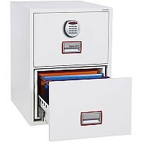 Phoenix World Class Vertical Fire File FS2252E 2 Drawer Filing Cabinet with Electronic Lock White