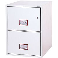 Phoenix World Class Vertical Fire File FS2262K 2 Drawer Filing Cabinet with Key Lock White