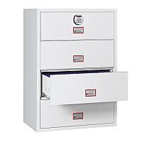 Phoenix World Class Lateral Fire File FS2414E 4 Drawer Filing Cabinet with Electronic Lock White