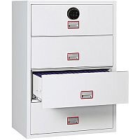 Phoenix World Class Lateral Fire File FS2414F 4 Drawer Filing Cabinet with Fingerprint Lock White