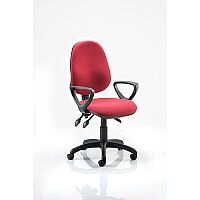 Eclipse III Lever Task Operator Office Chair Wine With Loop Arms