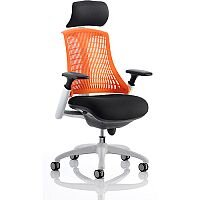 Flex Task Operator Office Chair White Frame Black Fabric Back With Orange Back With Arms & Headrest