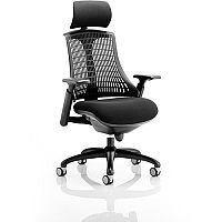 Flex Task Operator Office Chair Black Frame With Black Fabric Seat Black Back With Arms & Headrest