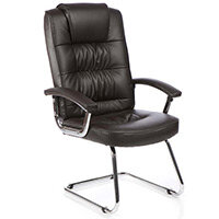 Moore Deluxe Boardroom & Visitor Cantilever Chair Brown Leather With Arms
