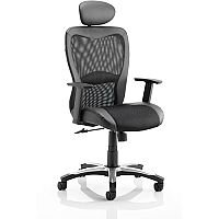 Victor II Executive Office Chair Black Leather Black Mesh With Arms & Headrest