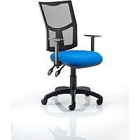 Eclipse II Lever Task Operator Office Chair Mesh Back With Blue Seat & Height Adjustable Arms