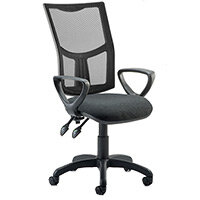 Eclipse II Lever Task Operator Office Chair Mesh Back With Black Seat & Loop Arms