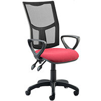 Eclipse II Lever Task Operator Office Chair Mesh Back With Wine Seat & Loop Arms