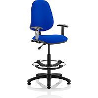 Eclipse I Lever Task Operator Office Chair Blue With Height Adjustable Arms With Draughtsman Kit