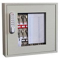 Phoenix Keysure KC0401E 30 Hook Clear View Key Cabinet with Electronic Code Lock Light Grey