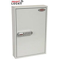 Phoenix Commercial Key Cabinet KC0602N 64 Hook with Net Code Electronic Lock. Light Grey
