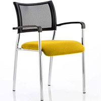 Brunswick Boardroom & Visitor Armchair with Chrome Frame & Sunset Yellow Seat