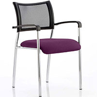 Brunswick Boardroom & Visitor Armchair with Chrome Frame & Purple Seat