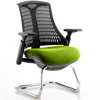 Flex Boardroom & Visitor Chair Black Cantilever Frame Black Back Swizzle Green Seat