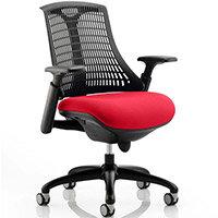 Flex Task Operator Office Chair Black Frame Black Back Cherry Red Seat