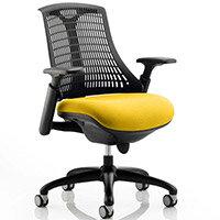 Flex Task Operator Office Chair Black Frame Black Back Sunset Yellow Seat