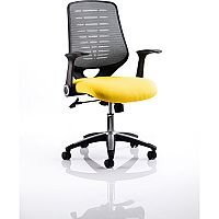 Relay Task Operator Office Chair Silver Back Sunset Yellow