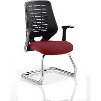 Relay Boardroom & Visitor Chair Cantilever Black Back Chilli Red