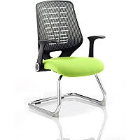 Relay Boardroom & Visitor Chair Cantilever Silver Back Swizzle Green