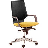 Xenon Executive Office Chair Black Frame Medium Back Black & Sunset Yellow Seat