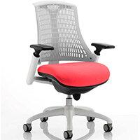 Flex Task Operator Office Chair White Frame White Back Cherry Red Seat