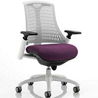 Flex Task Operator Office Chair White Frame White Back Purple Seat