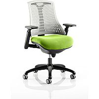 Flex Task Operator Office Chair Black Frame White Back Swizzle Green Seat