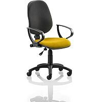 Eclipse I Lever Task Operator Office Chair With Loop Arms Black Back Sunset Yellow Seat