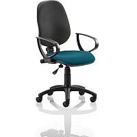 Eclipse I Lever Task Operator Office Chair With Loop Arms Black Back Kingfisher Green Seat