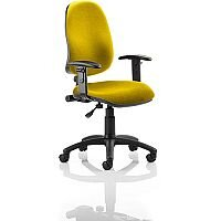Eclipse I Lever Task Operator Office Chair With Height Adjustable Arms In Sunset Yellow