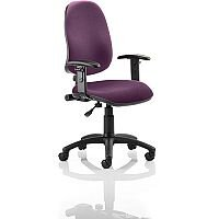 Eclipse I Lever Task Operator Office Chair With Height Adjustable Arms In Purple