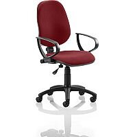 Eclipse I Lever Task Operator Office Chair With Loop Arms In Chilli Red