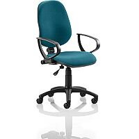 Eclipse I Lever Task Operator Office Chair With Loop Arms In Kingfisher Green