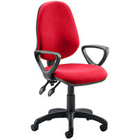 Eclipse II Lever Task Operator Office Chair With Loop Arms In Cherry Red