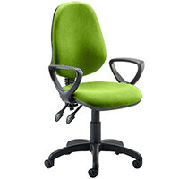 Eclipse II Lever Task Operator Office Chair With Loop Arms In Swizzle Green