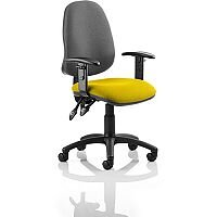 Eclipse II Lever Task Operator Office Chair With Height Adjustable Arms Black Back Sunset Yellow Seat