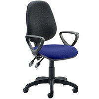 Eclipse II Lever Task Operator Office Chair With Loop Arms Black Back Serene Blue Seat
