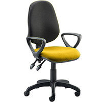 Eclipse II Lever Task Operator Office Chair With Loop Arms Black Back Sunset Yellow Seat