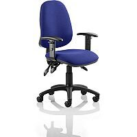 Eclipse III Lever Task Operator Office Chair With Height Adjustable Arms In Serene Blue