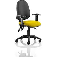 Eclipse III Lever Task Operator Office Chair With Height Adjustable Arms Black Back Sunset Yellow Seat