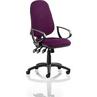 Eclipse XL III Lever Task Operator Office Chair With Loop Arms In Purple