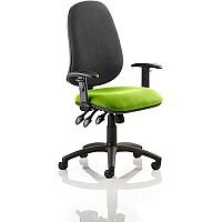 Eclipse XL III Lever Task Operator Office Chair With Height Adjustable Arms Black Back Swizzle Green Seat